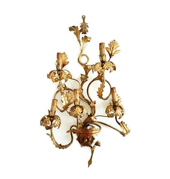 SALE Large Florentine Tole Wrought Iron Wall Sconce Antique