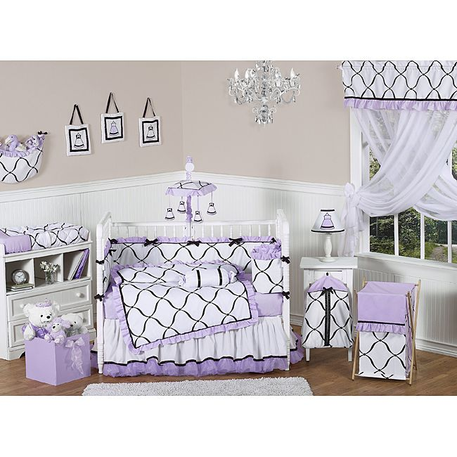 This light purple crib bedding is the perfect accent for your little princess's room. The nine-piece set includes everything you need to dress the crib, including a drop skirt and a blanket.