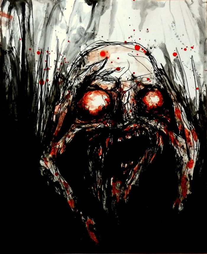 Artist Paints Nightmares With His Own Blood https://www.facebook.com/MaximeTaccardiArtworks/