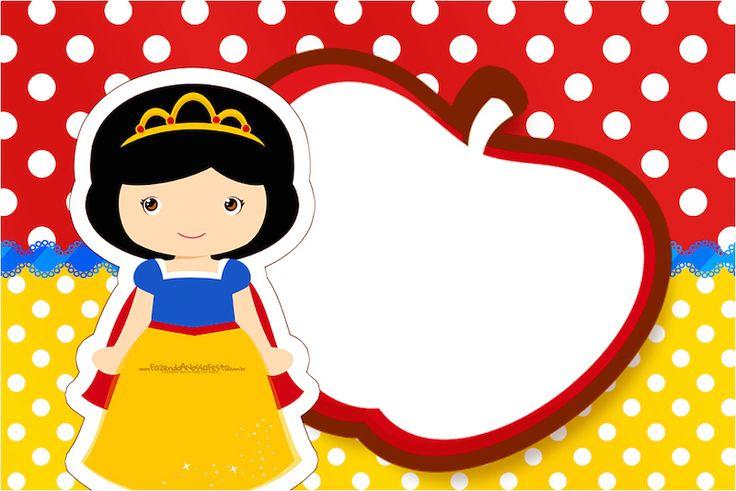 Convite,Moldura, Cartão Branca de Neve Cute