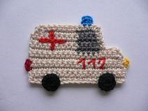 Krankenwagen (klein)  - Häkelapplikation