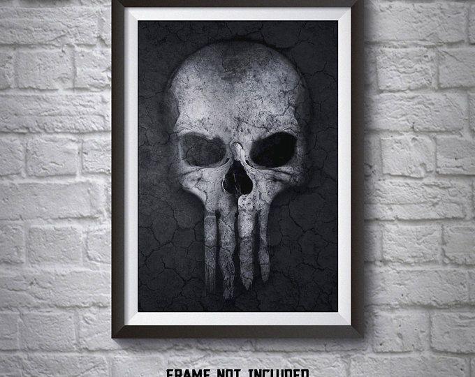 Punisher Skull Poster Punisher Wall Art Punisher Poster Printed Movie Poster Boys Room Decor Punisher Print Art Boys Room Decor Painting