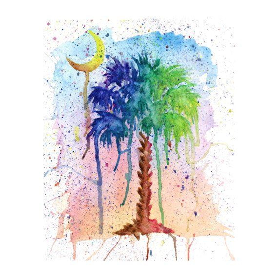 Palmetto tree and crescent moon Art Watercolor Print.   South Carolina Art on Etsy.