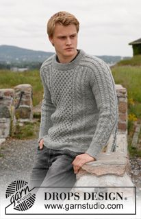 "Knitted DROPS men's jumper with cables in ""Karisma"". Size 13/14 years - XXXL. ~ DROPS Design"