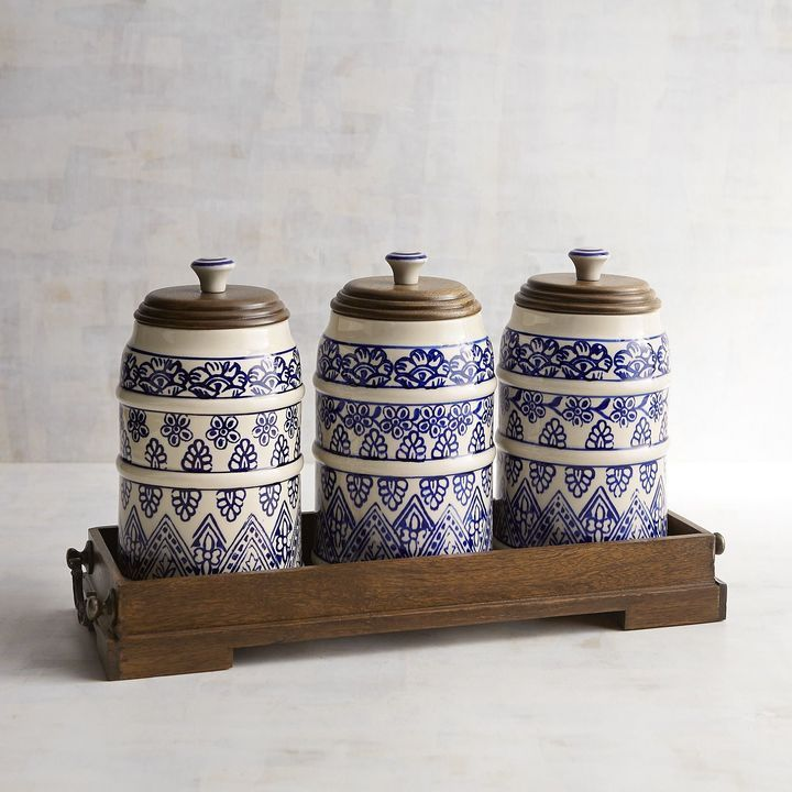 beautiful kitchen canisters kitchen decor beautiful blue amp white painted canister 10653