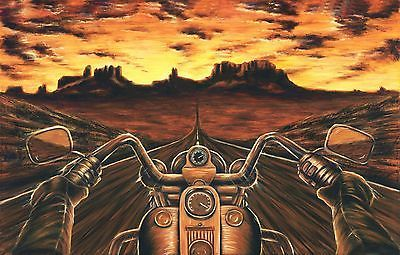 Harley Davidson Painting Motorcycle Artwork Stretched Canvas Giclee