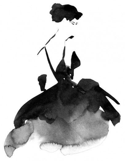 Oh so simple, oh so wonderful. Monochrome Fashion Illustration - Watercolour