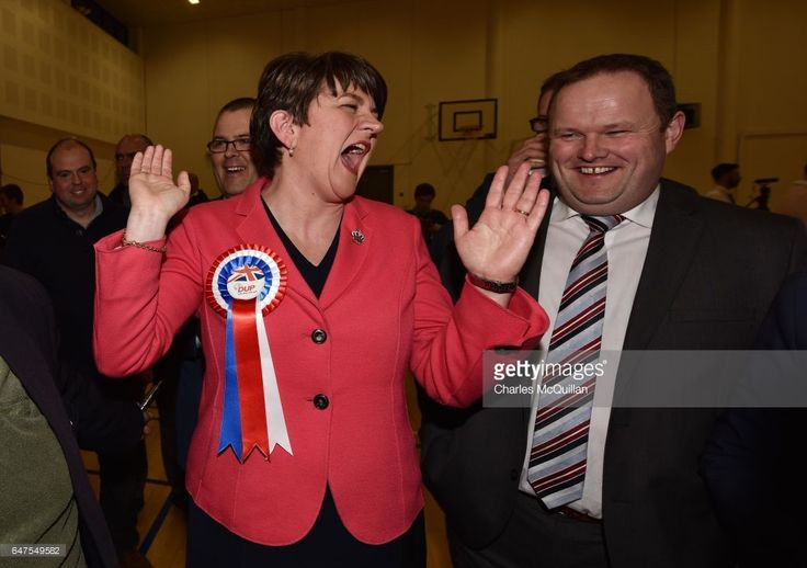 Democratic Unionist party leader and former First Minister Arlene Foster celebrates after being elected as the Northern Ireland Stormont election count takes place at the Omagh Leisure centre on March 3, 2017 in Omagh, Northern Ireland. Voters went to the polls yesterday for the second time in 10 months after the collapse of the power sharing executive government.