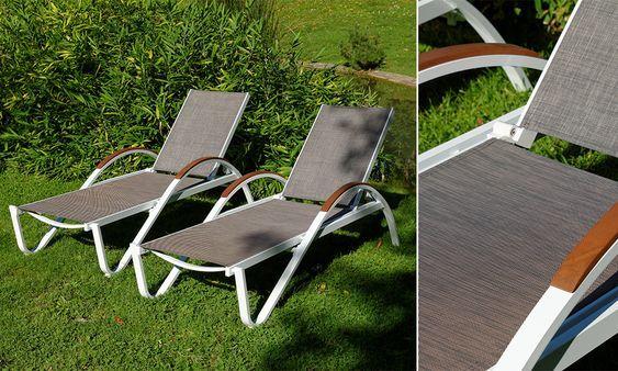 2 Sonnenliegen CARLA taupe-weiß #Sonnenliegen #Garten #Gartenmöbel