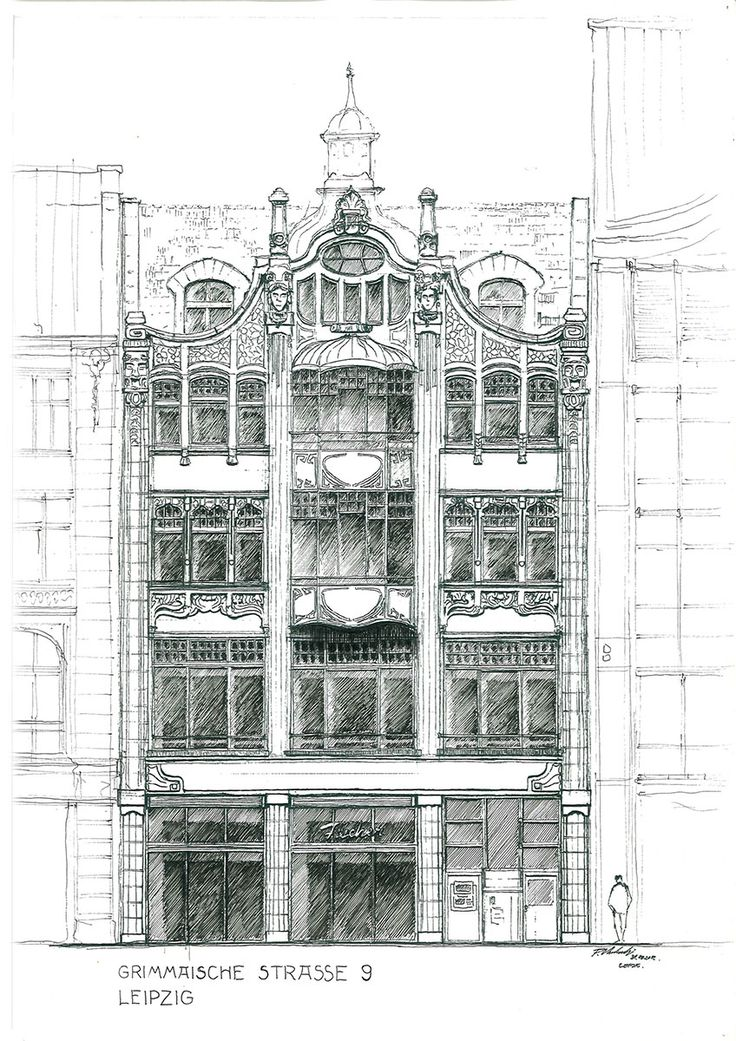 Grimmaische Straße 9 (1904) trade / departament house in Leipzig - facade drawing. Drawn up by Piotr Kilanowski (2012).