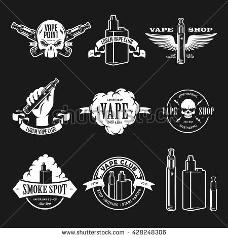 Set of vape, e-cigarette emblems, labels, prints and logos. Vector vintage illustration. Isolated on white background. - stock vector