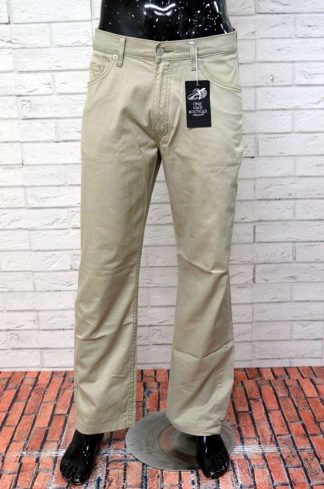 396fb270406127 Pantalone LEVI'S 752 Uomo Taglia W 34 L 34 Elastico Jeans Beige PARI AL  NUOVO