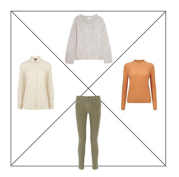 Джинсы цвета хаки, рубашка, водолазка и свитер