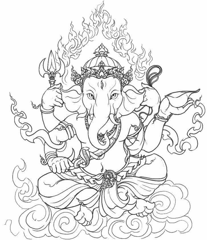 Coloriage adulte Inde : Ganesha 8