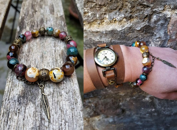 Boho stretch gemstones bracelet. Multicolored agate stones with vintage bronze chain and feather charm. Beaded bracelet Bohemian Style Yoga