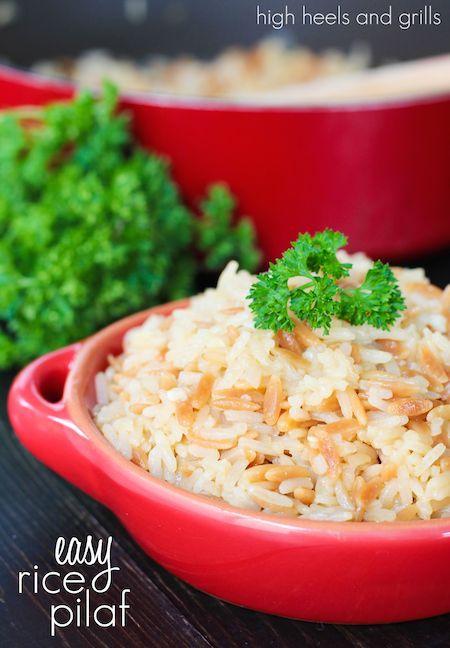 Easy Rice Pilaf. #recipe #sidedish http://www.highheelsandgrills.com/2014/04/easy-rice-pilaf.html