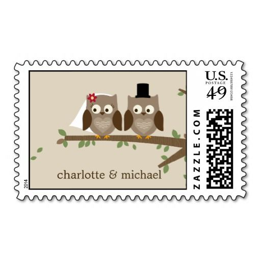 Personalize it with your names - Love Owls Custom Postage Stamp