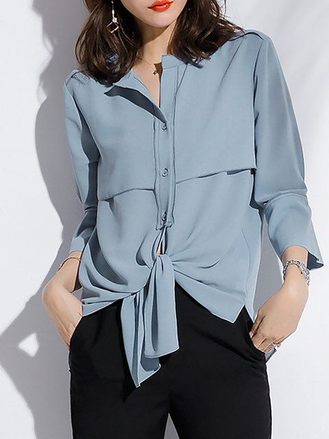 4ac95a5b7fbd48 Buy Blouses For Women from Sicily at StyleWe. Online Shopping Stand Collar  Casual Chiffon Bell Sleeve Blouse, The Best Work Blouses.