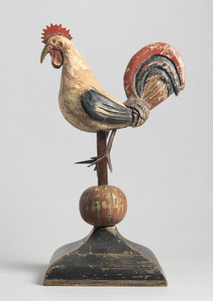 hand carved & painted wood cockerel - european, c.1880
