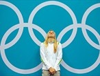 Ruta Meilutyte reacts during the medal ceremony for the women's 100m Breaststroke