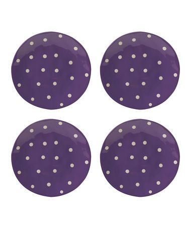 Another great find on #zulily! Purple Sprinkle 11'' Dinner Plate - Set of Four #zulilyfinds