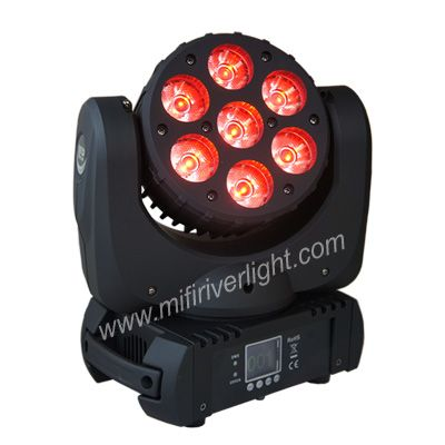 F-7-20 - 7*15W RGBW OSRAM 4in1 LED Wash/Beam Moving Head ‐ Beam Angle: 8 Degrees ‐ DMX Channel: 14CHs ‐ Master‐Slave/Auto/Sound ‐ Pan: 545° ‐ Tilt: 280° ‐ Digital Strobe & Dimmer: 0‐100% ‐ DMX Channels: 11 /15 ‐ Auto run, Sound Active, Master/Slave