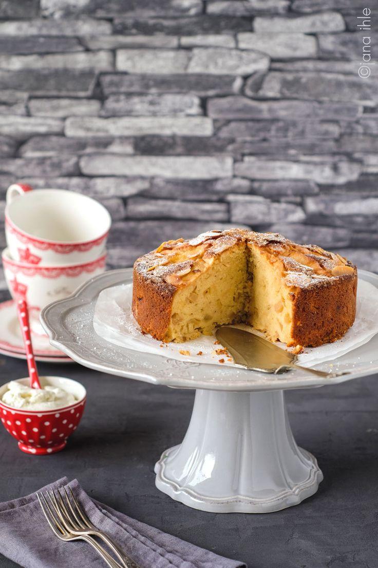 Apfel-Marzipan-Kuchen, Apfelkuchen, Kuchen, Virginia Casa Corona Cake Stand, apple pie, apple cake