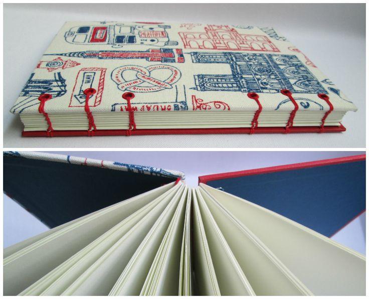Travel Formato A5. Medidas: 21,5 cm. x 15,5 cm.  80 Hojas lisas, bookcel (color ahuesado). Tela. VENDIDO
