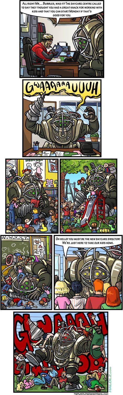 XD: Aw Bioshock, Daycares Management, Comic, Bioshock Funny, Bubbles, Bioshock Adam, Big Daddy Bioshock, Bioshock Humor, Daddy Daycares