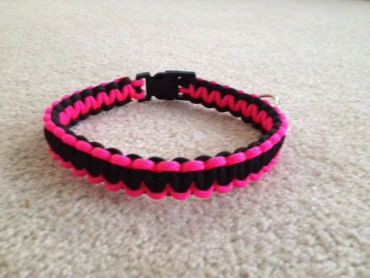 Paracord Dog collar Black and pink