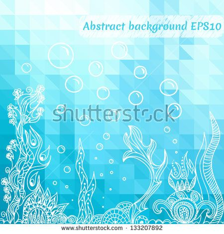 Sea underwater background. Marine mosaic geometric design with triangles. Vector eps 10.
