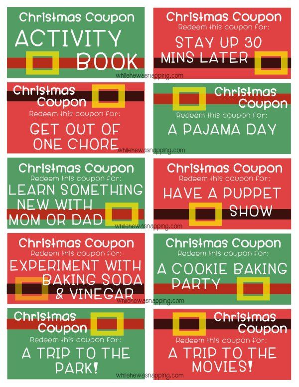 Printable christmas coupon book for parents / Ink48 hotel deals