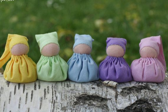 5 Rainbow gnomes  waldorf toy  wool stuffed by ElodeaToys on Etsy