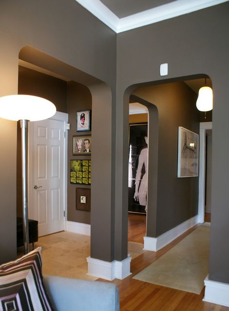 love this wall colorDining Rooms, Wall Colors, Grey Walls, Bedrooms Colors, White Trim, Gray Walls, Living Room, Painting Colors, Wall Colours