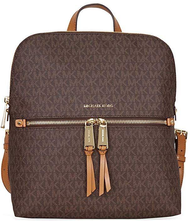 0cf6b601c2bc87 MICHAEL Michael Kors Rhea Medium Slim Backpack (Signature Brown) # MichaelKors #Resort Collection #Fashion #Runway #Trending #WomensFashion  #GetTheLook c02