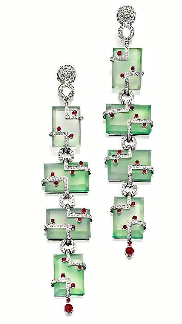 Jadeite, Ruby and Diamond Earrings, Michele Della Valle