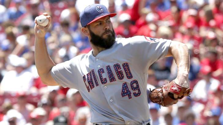 Report: Arrieta won't get long-term deal from Cubs  -  July 7, 2017:      Chicago Cubs starting pitcher Jake Arrieta throws the ball against the Cincinnati Reds during the first inning at Great American Ball Park on July 2, 2017.