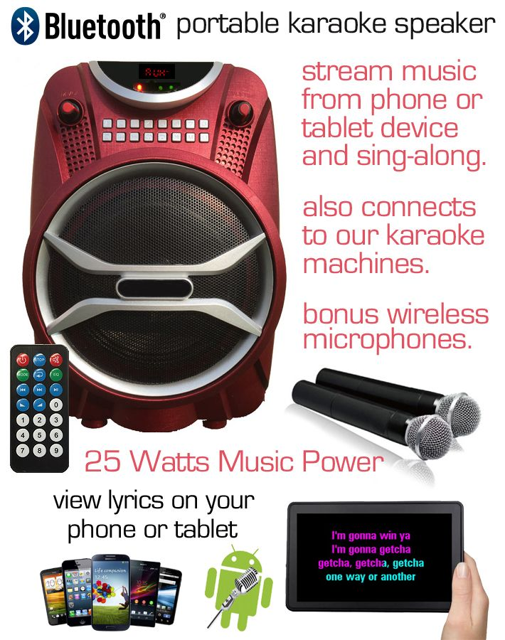 The B6 Portable Karaoke Speaker, featuring USB/SD Card reader, FM Radio, Bluetooth, Rechargeable Battery + Mains Adapter with 2 Wireless Microphones