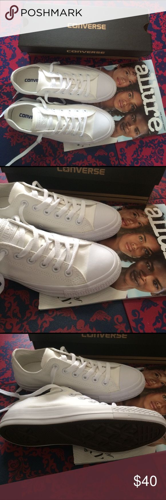 CONVERSE WOMENS SIZE 7.5 ALL WHITE SHOES NIB BRAND NEW WITH BOX ALL WHITE CANVAS MATERIAL CONVERSE CHUCK TAYLOR SHOES. SIZE 7.5 WOMENS. SHOES FIT TRUE TO SIZE. PRICE IS VERY FIRM. ✨ Converse Shoes Sneakers
