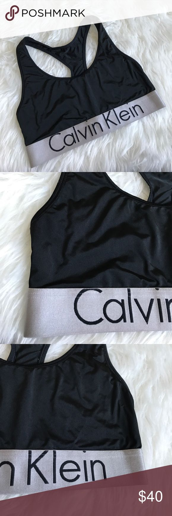 Calvin Klein Black and Silver Sports Bra Bralette Excellent condition. Never worn. No flaws. Not padded. Made from 86% nylon and 14% elastane. Calvin Klein Intimates & Sleepwear Bras