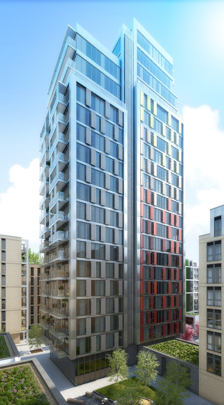 cgi of Witham House, Barratt London's 22-storey tower at Osiers, Wandsworth by Assael Architecture