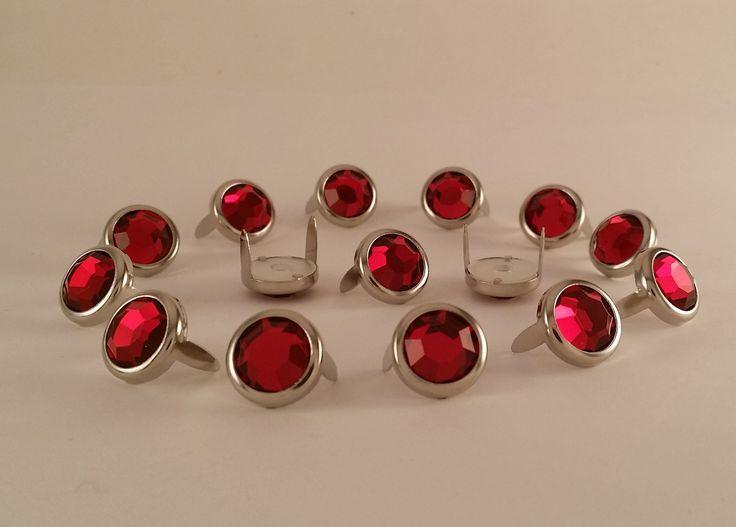 "11031-C15 1/2"" Red Acrylic 2 Prong Rhinestones with Round Nickel Setting"