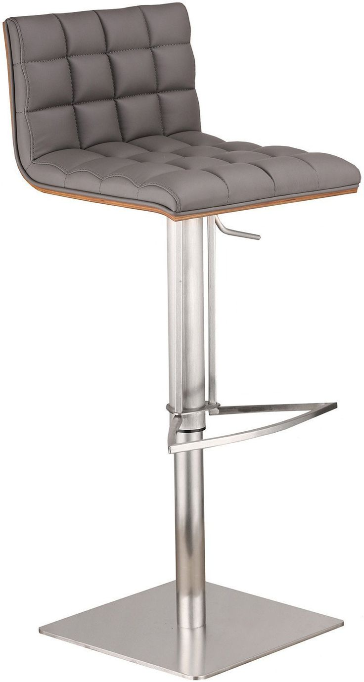 Armen Living LCOSSWBAGRB201 Oslo Adjustable Brushed Stainless Steel Barstool in Gray Pu with Walnut Back