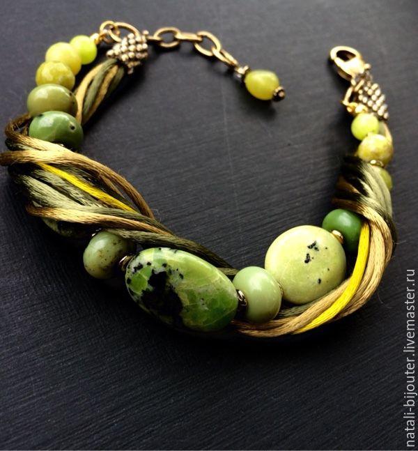 """Купить Браслет """"Желтая бирюза"""" - оливковый, желтая бирюза, лето, пастельные тона, авокадо"""
