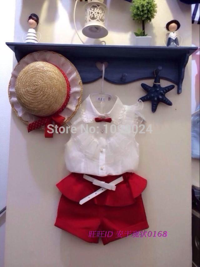 2016 Новый Летний Моды Девушка Белые Кружева Блузки + Красные Шорты Комплект Одежды детей Одежды Наборы Twinset