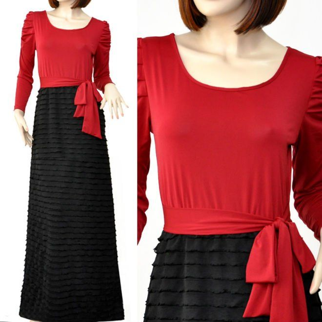 Long Sleeve Ruffle Tulle Skirt Modest Muslimah Maxi Dress