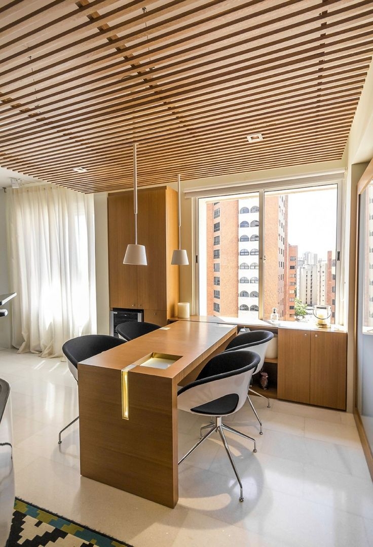 Apartment: Modern Minimalist Home Office With A Nice Building View Also Black White Stools As Well As Dual White Pendant Light Design Ideas: Hobby Influences Apartment Interior : Project for Music Lovers