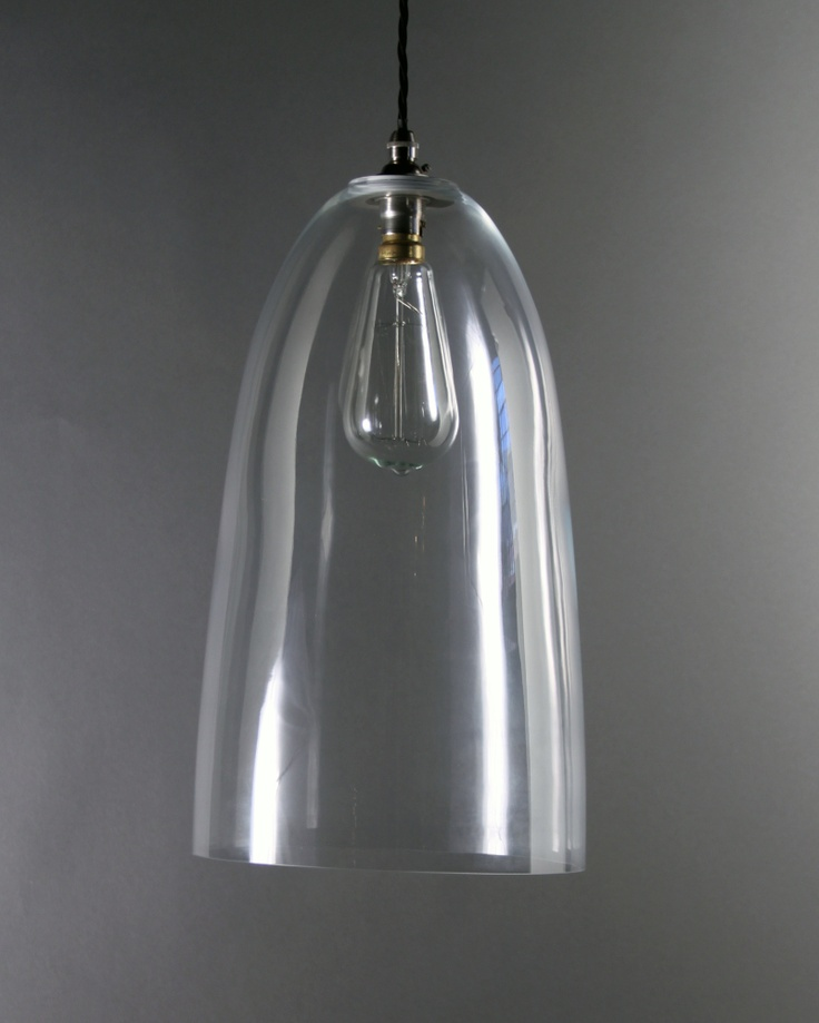 Our Extra Large, Upton, Clear Glass Pendant Light looks super with a squirrel cage light bulb,