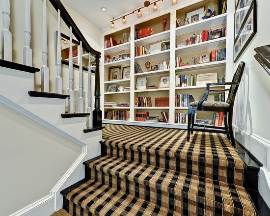 Decorating Conventional Staircase With Brown And Black