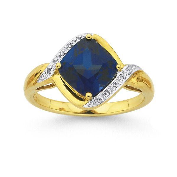 9ct Gold Created Sapphire & Diamond Ring